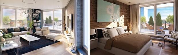 Vizualizace interiéru střešního bytu s výhledem na Prahu a velkou terasou
